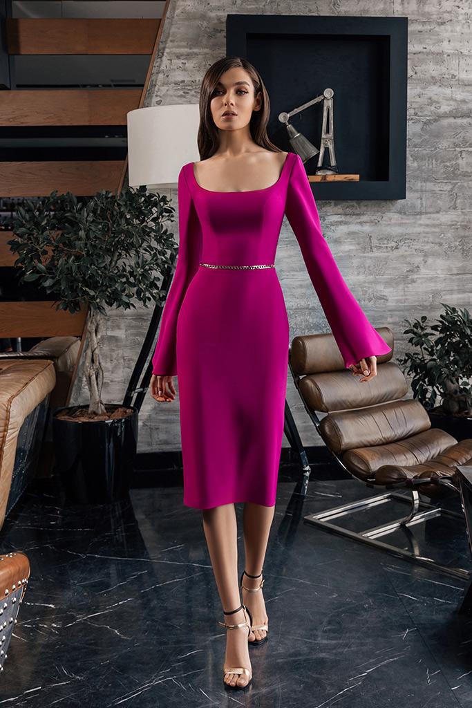 Evening dresses 1943 Silhouette  Sheath  Color  Violet  Pink  Neckline  Scoop