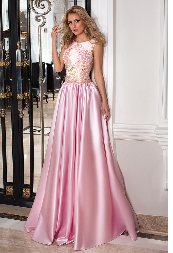 Evening dresses №1022 Silhouette  A Line  Color  Pink  Neckline  Scoop  Sleeves  Sleeveless  Train  No train