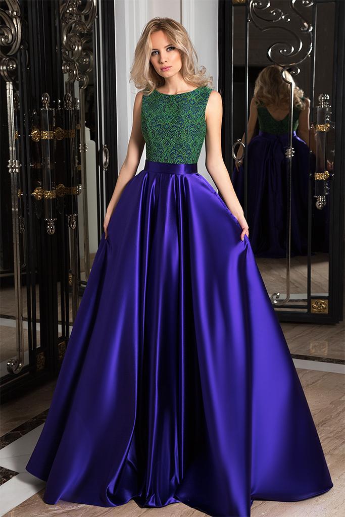 Evening dresses №1050  Silhouette  A Line  Color  Blue  Neckline  Scoop  Sleeves  Sleeveless  Train  No train