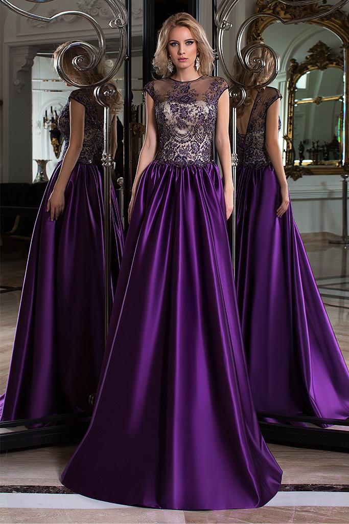 Evening dresses №1051 Silhouette  A Line  Color  Eggplant  Neckline  Scoop  Sleeves  Sleeveless  Train  No train