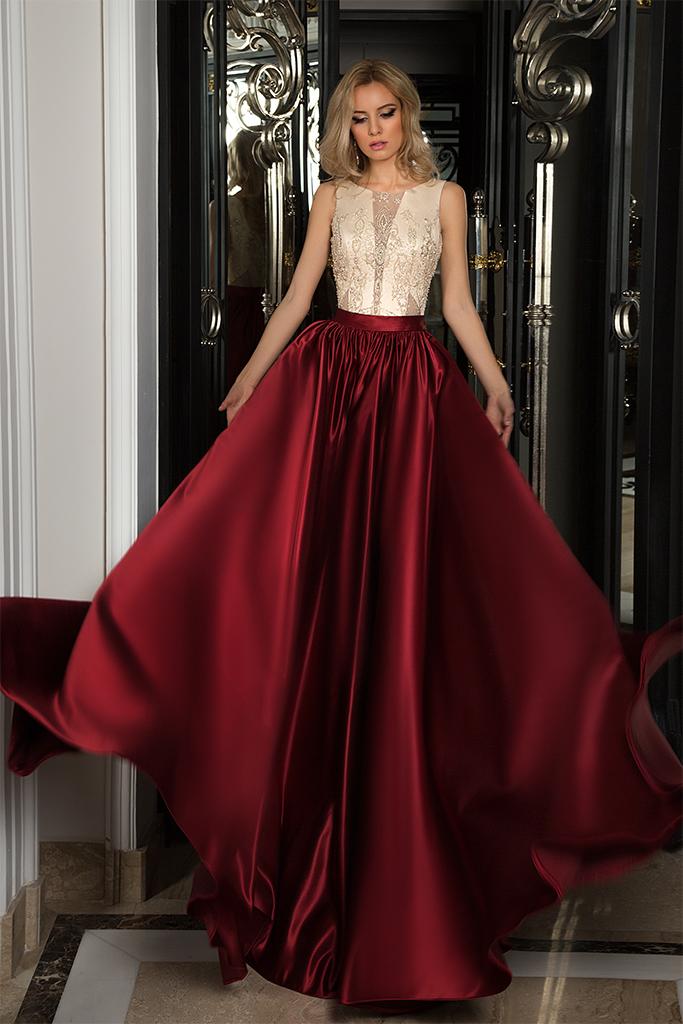 Evening dresses № 1054 Silhouette  A Line  Color  Claret  Ivory  Neckline  Scoop  Sleeves  Sleeveless  Train  No train