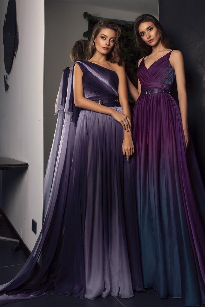 Evening dresses №1479 Silhouette  A Line  Color  Violet  Sleeves  One Shoulder  Train  No train