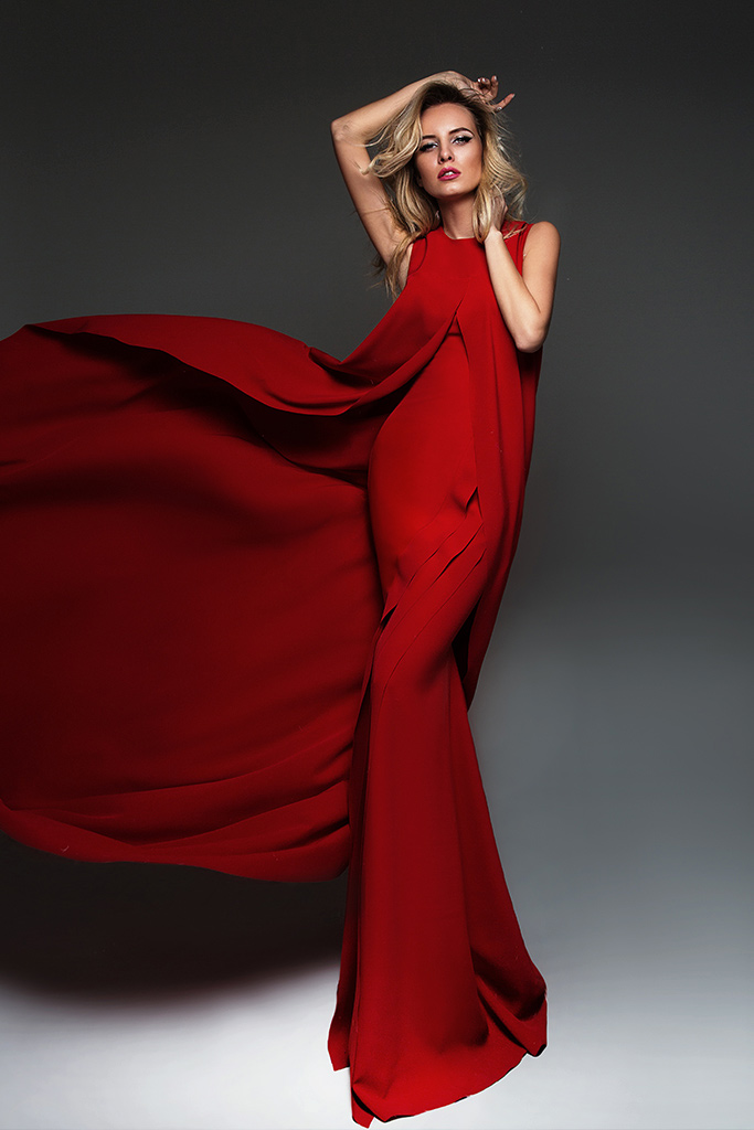 Evening dresses №950-1 (without cape) Silhouette  Fitted  Color  Red  Sleeves  Sleeveless  Train  With train