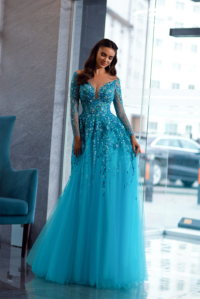 Evening dresses 1841-1 Silhouette  A Line  Color  Blue  Neckline  Sweetheart  Scoop  Sleeves  Long Sleeves  Train  With train