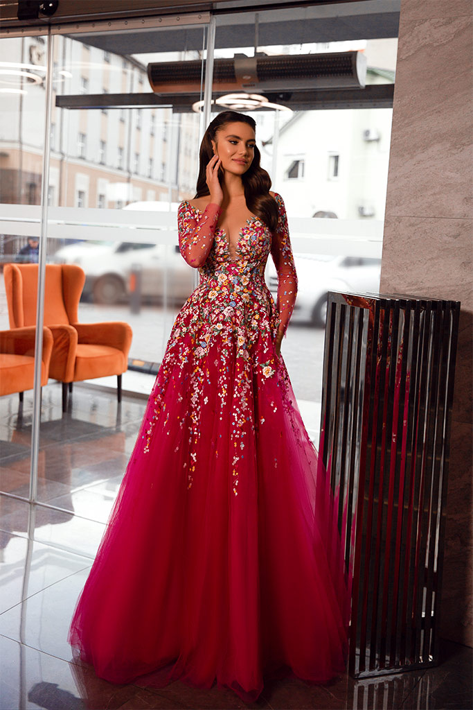 Evening dresses 1843 Silhouette  A Line  Color  Raspberry  Neckline  Sweetheart  Scoop  Sleeves  Long Sleeves  Train  With train