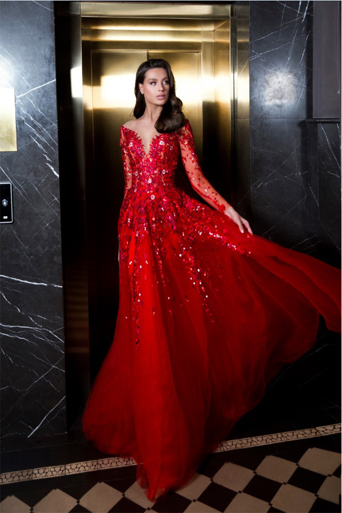Evening dresses 1844 Silhouette  A Line  Color  Red  Neckline  Sweetheart  Scoop  Sleeves  Long Sleeves  Train  With train