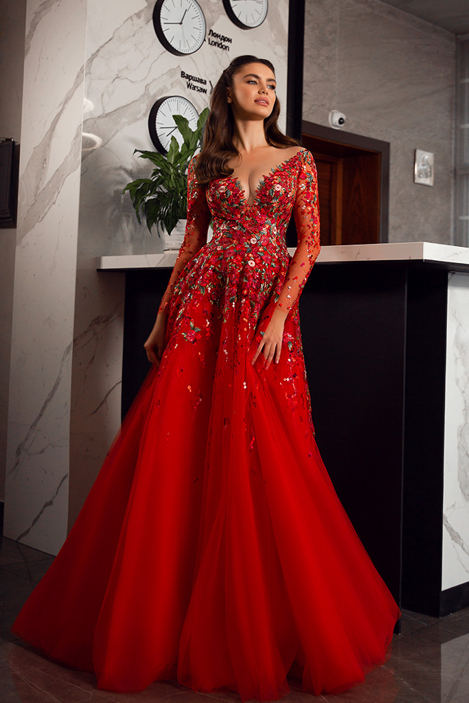 Evening dresses 1844-2 Silhouette  A Line  Color  Red  Neckline  Sweetheart  Scoop  Sleeves  Long Sleeves  Train  With train
