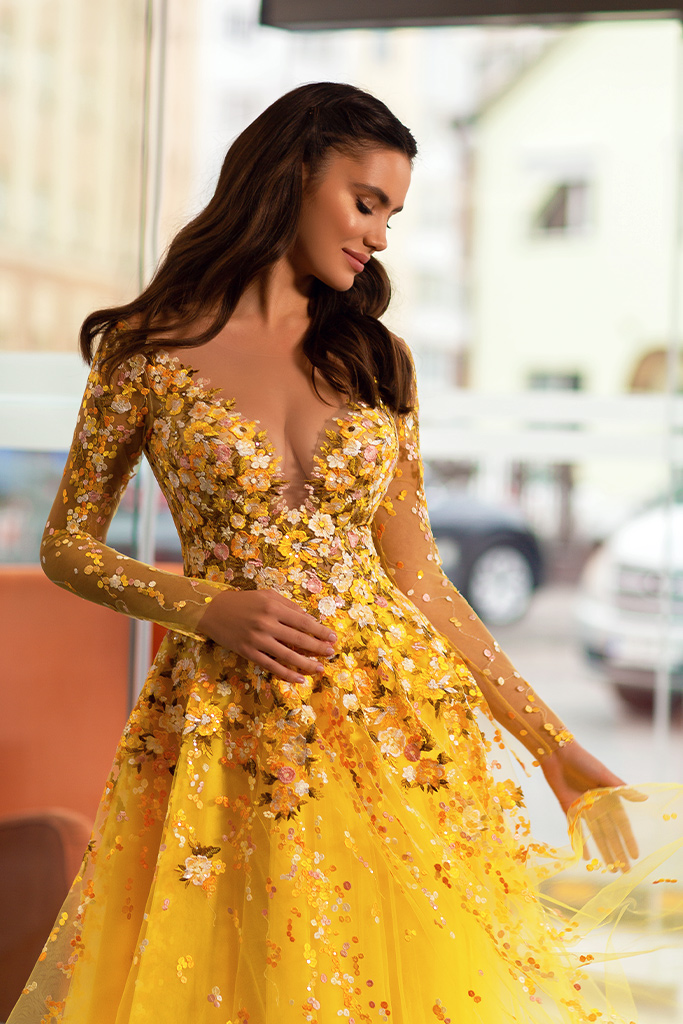 Evening dresses 1842-1 Silhouette  A Line  Color  Yellow  Neckline  Sweetheart  Scoop  Sleeves  Long Sleeves  Train  With train