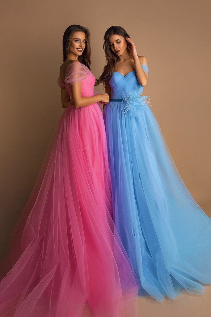 Evening dresses №1578 Silhouette  A Line  Color  Pink  Neckline  Sweetheart  Sleeves  Off the Shoulder Sleeves  Train  With train