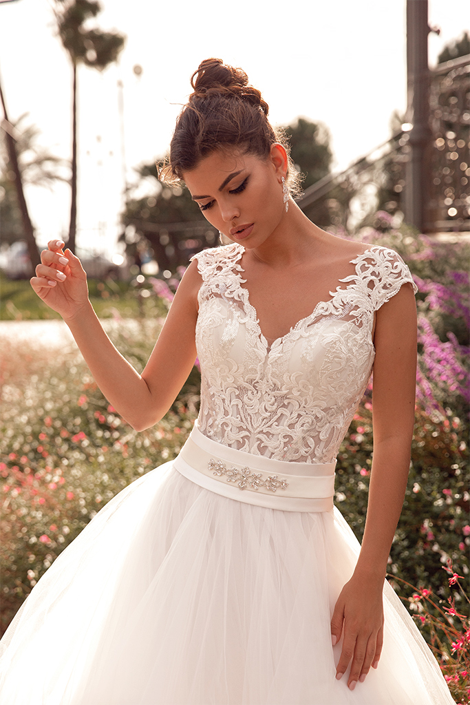 Wedding dress Hope Silhouette  A Line  Color  Ivory  Neckline  Queen Anne  Sleeves  Sleeveless  Train  No train