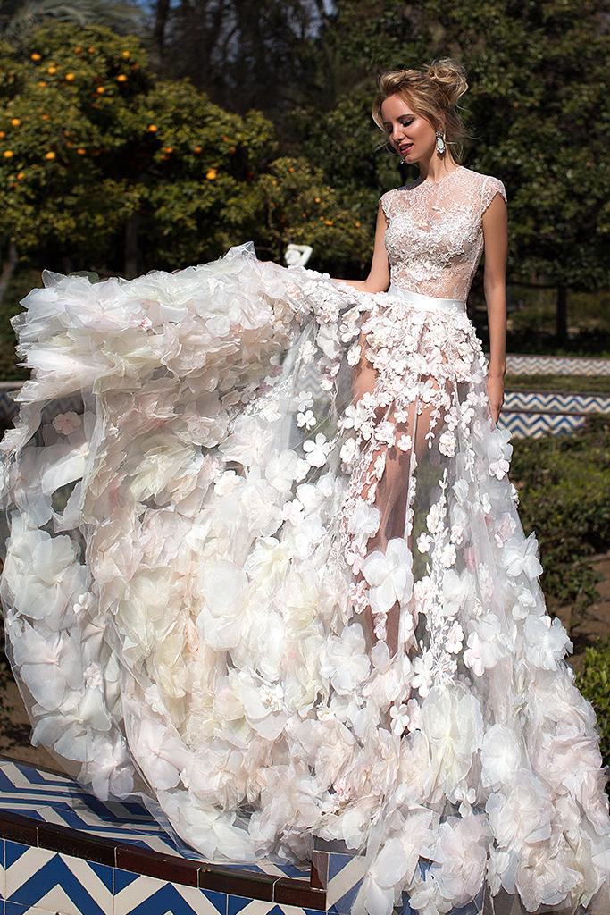 Wedding dress Bellarose Silhouette  A Line  Color  Ivory  Neckline  Mandarin  Train  With train