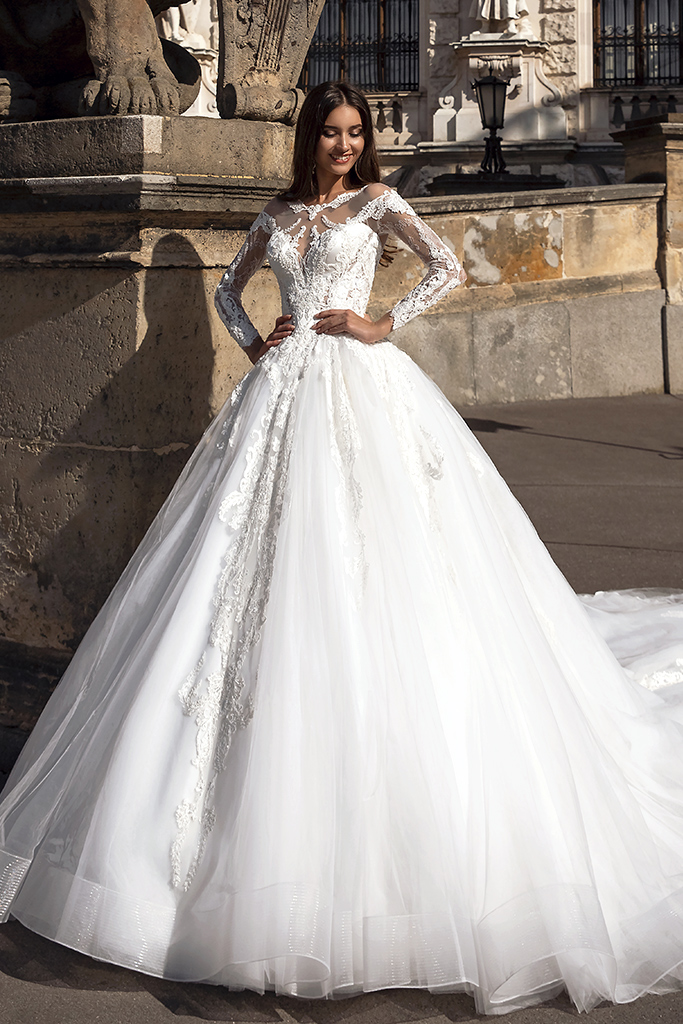 Wedding dress Solana Silhouette  A Line  Color  Ivory  Neckline  Sweetheart  Sleeves  Long Sleeves  Train  With train