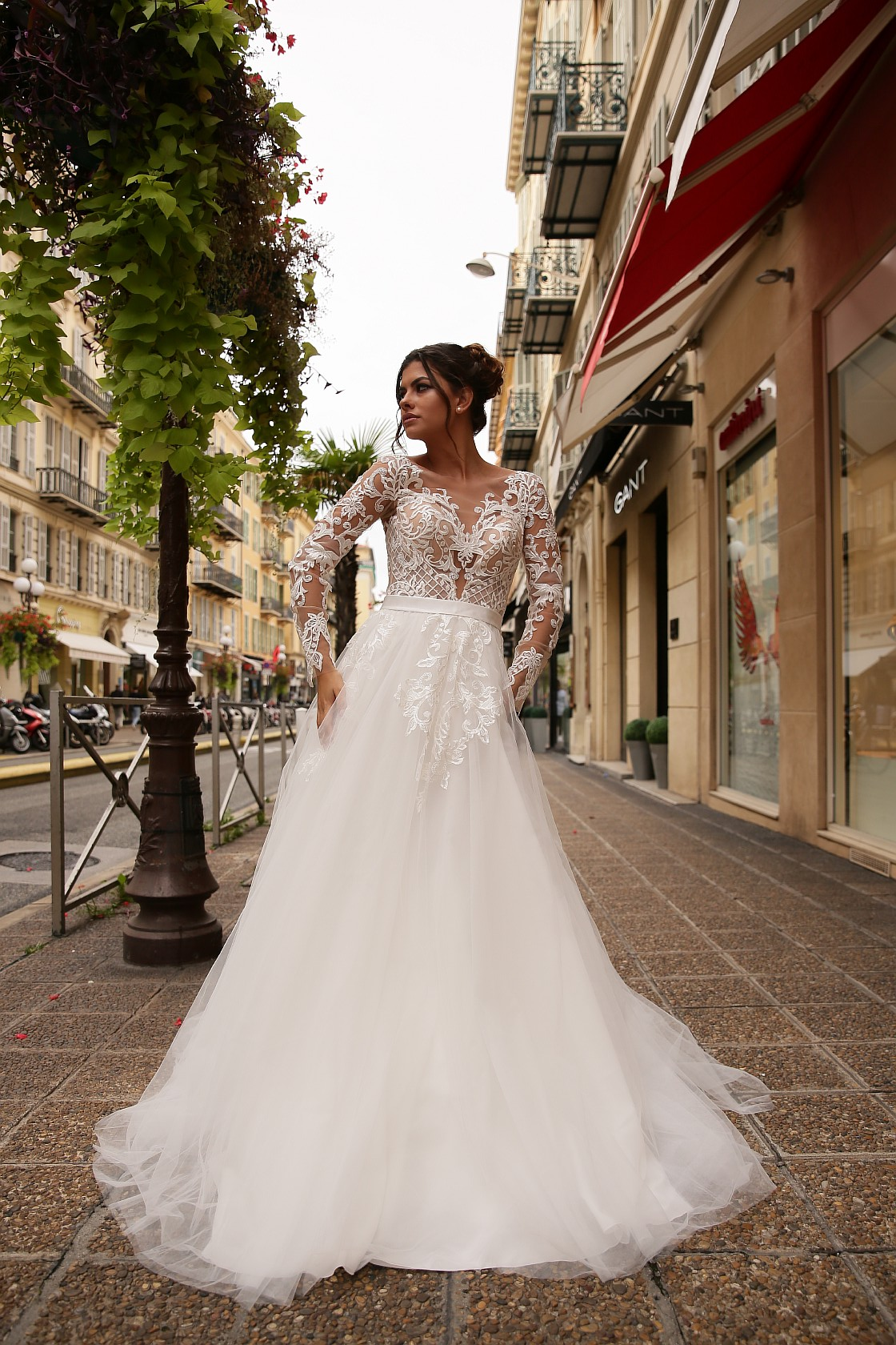 Wedding dress Renee Silhouette  A Line  Color  Cappuccino  Neckline  Sweetheart  Sleeves  Long Sleeves  Train  With train