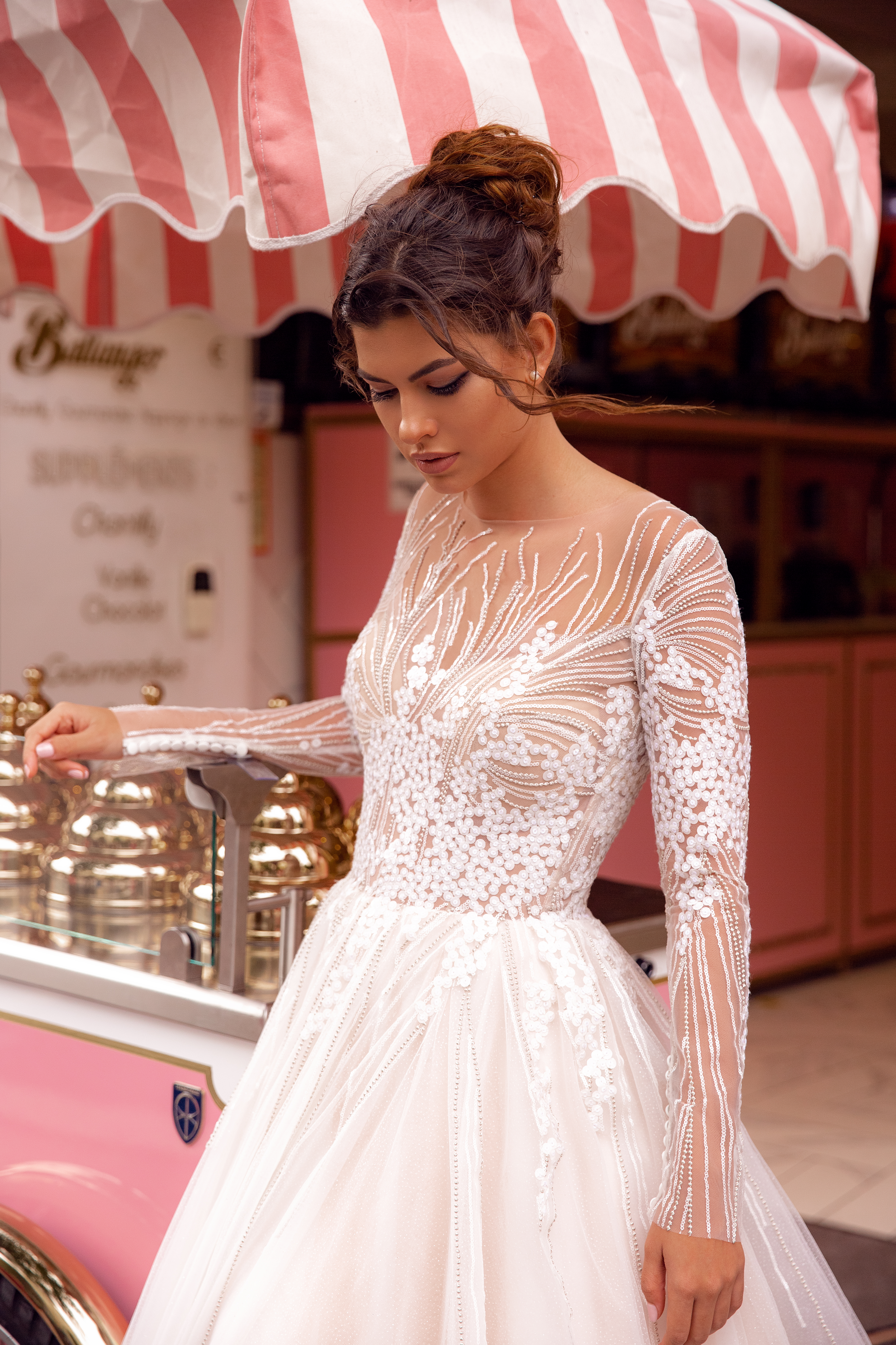 Wedding dresses Fibi Collection  Côte d'Azur  Silhouette  A Line  Color  Blush  Ivory  Neckline  Jewel  Sleeves  Long Sleeves  Fitted  Train  With train