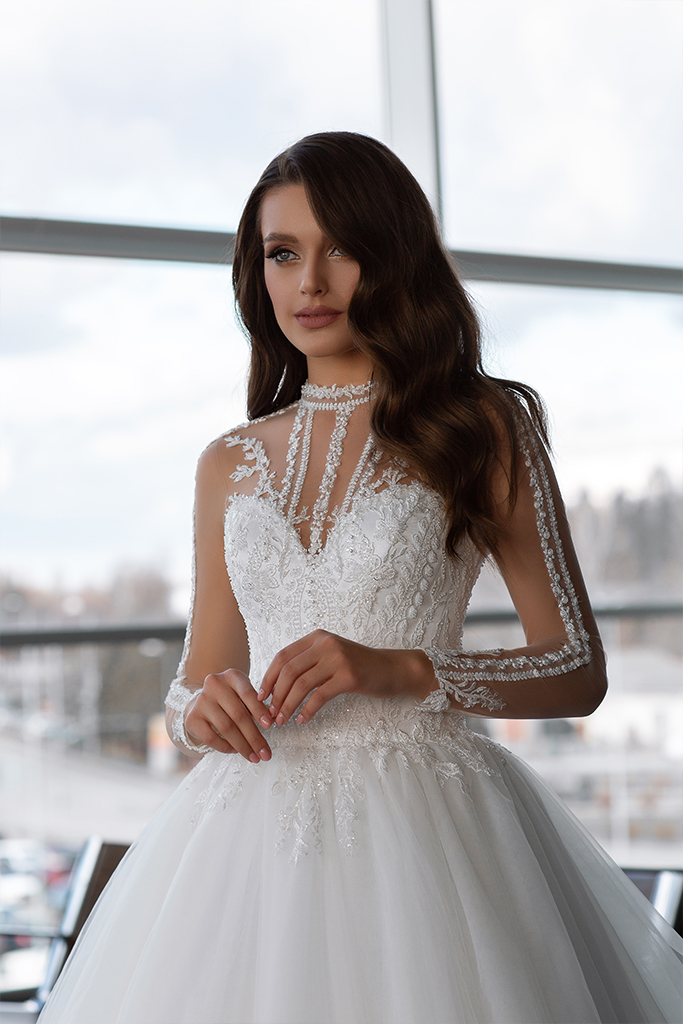 Wedding dresses Sonata Collection  Gloss  Silhouette  Ball Gown  Color  Ivory  Neckline  Sweetheart  Illusion  Sleeves  Long Sleeves  Fitted  Train  With train