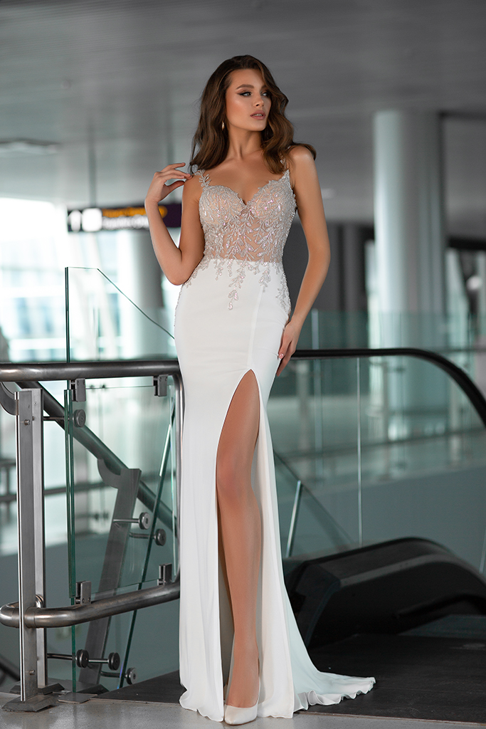 Wedding dresses Greta Collection  Gloss  Silhouette  Sheath  Color  Ivory  Neckline  Sweetheart  Sleeves  Wide straps  Train  With train