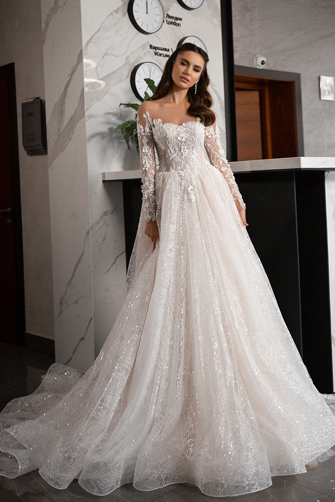 Wedding dresses Kimberly Collection  Gloss  Silhouette  A Line  Color  Blush  Ivory  Neckline  Sweetheart  Sleeves  Long Sleeves  Fitted  Train  With train