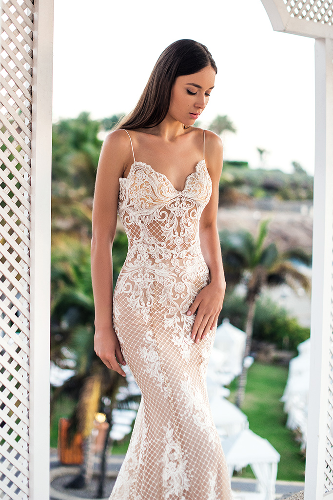 Wedding dresses Mona Collection  Fresh Touch  Silhouette  Fitted  Color  Cappuccino  Ivory  Neckline  Sweetheart  Sleeves  Spaghetti Straps  Train  No train
