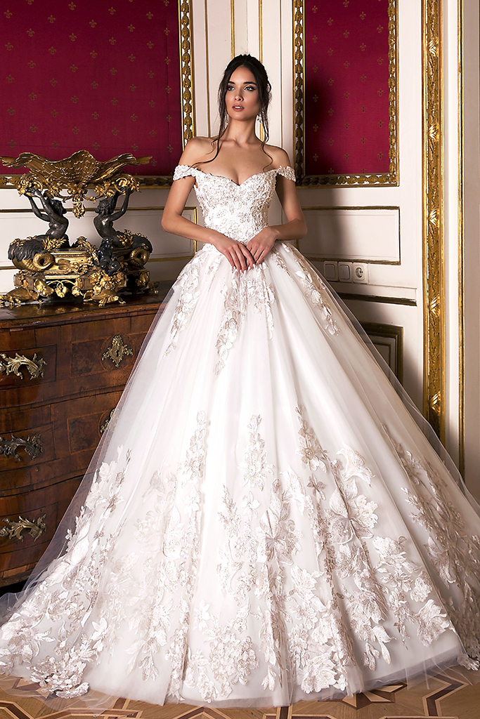 Wedding dresses Flori Collection  Luxurious Spirit  Silhouette  Ball Gown  Color  Pink  Ivory  Neckline  Sweetheart  Sleeves  Off the Shoulder Sleeves  Train  With train