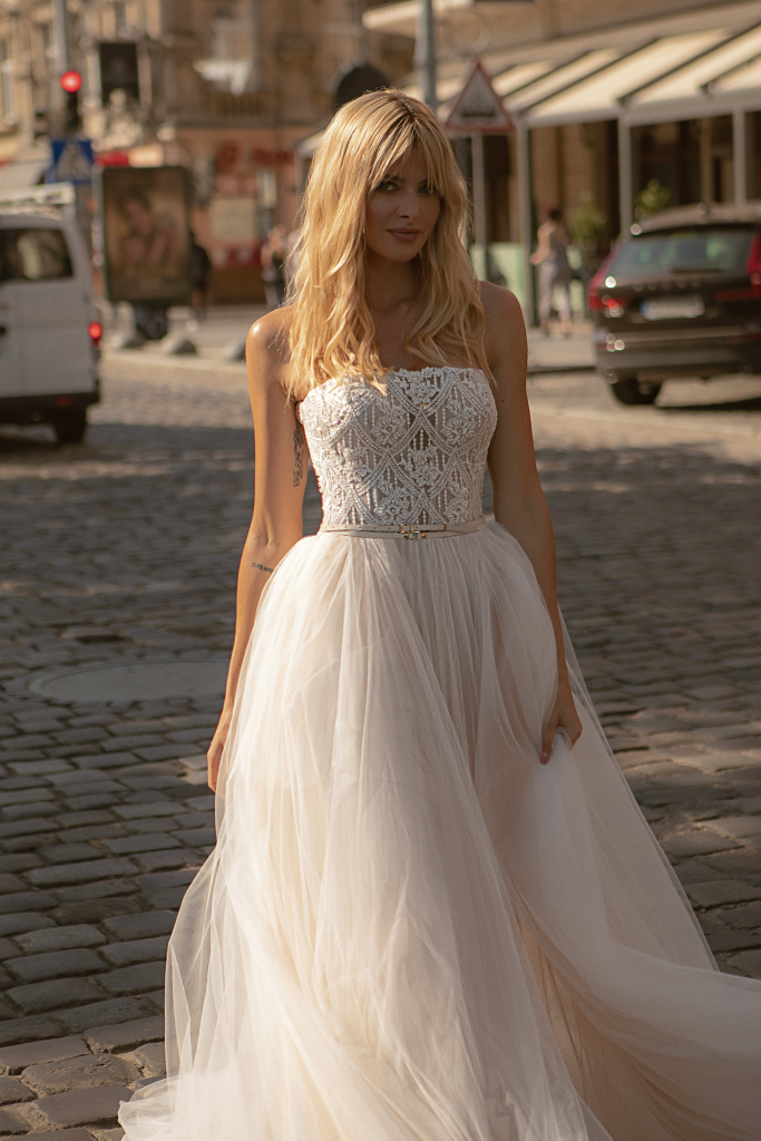 Wedding dresses Olivia Collection  City Passion  Silhouette  A Line  Color  Blush  Ivory  Neckline  Straight  Sleeves  Sleeveless  Train  With train
