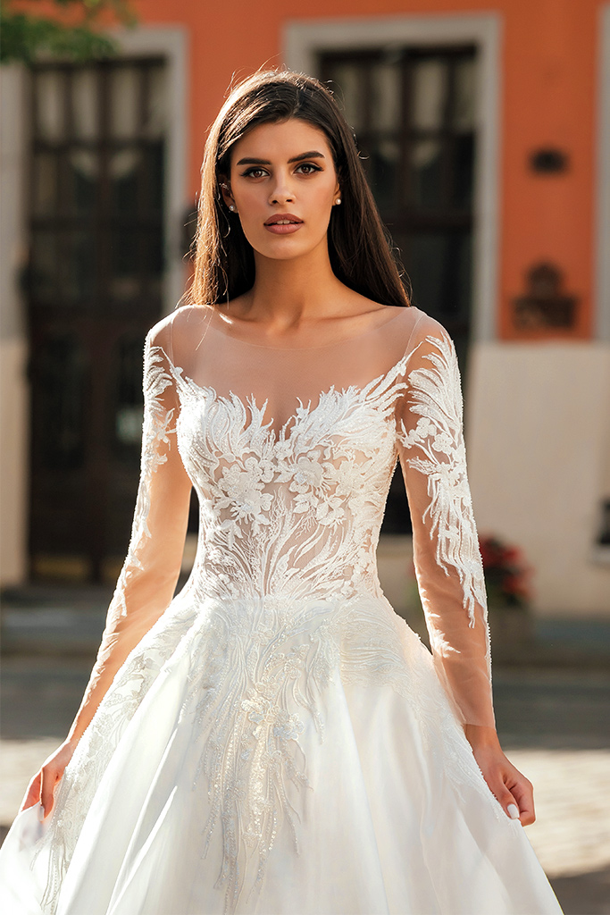 Wedding dresses Gladys Collection  City Passion  Silhouette  A Line  Color  Ivory  Neckline  Sweetheart  Illusion  Sleeves  Off the Shoulder Sleeves  Long Sleeves  Fitted  Train  With train