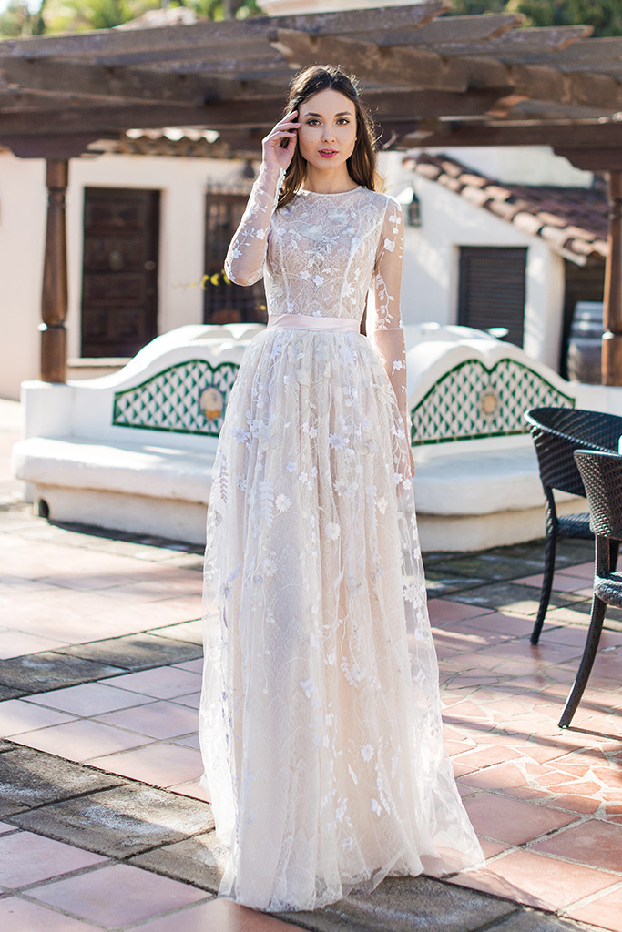 Wedding dress Lutecia Silhouette  A Line  Color  Cappuccino  Neckline  Scoop  Sleeves  Long Sleeves  Train  No train