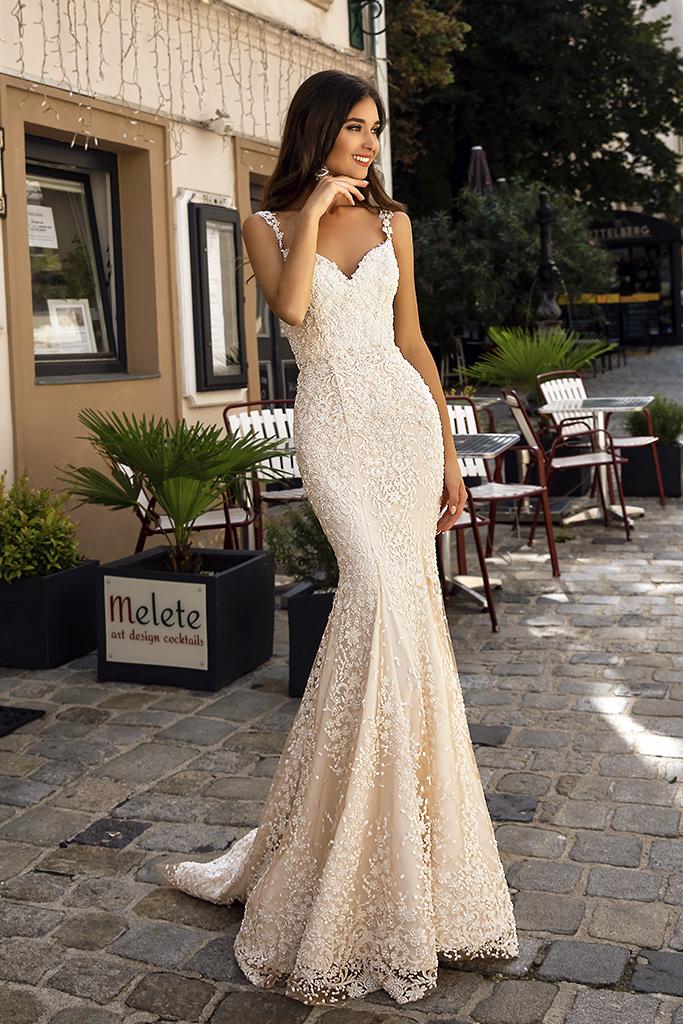 Wedding dress Tessa  Silhouette  Mermaid  Color  Nude  Ivory  Neckline  Sweetheart  Sleeves  Sleeveless  Train  With train