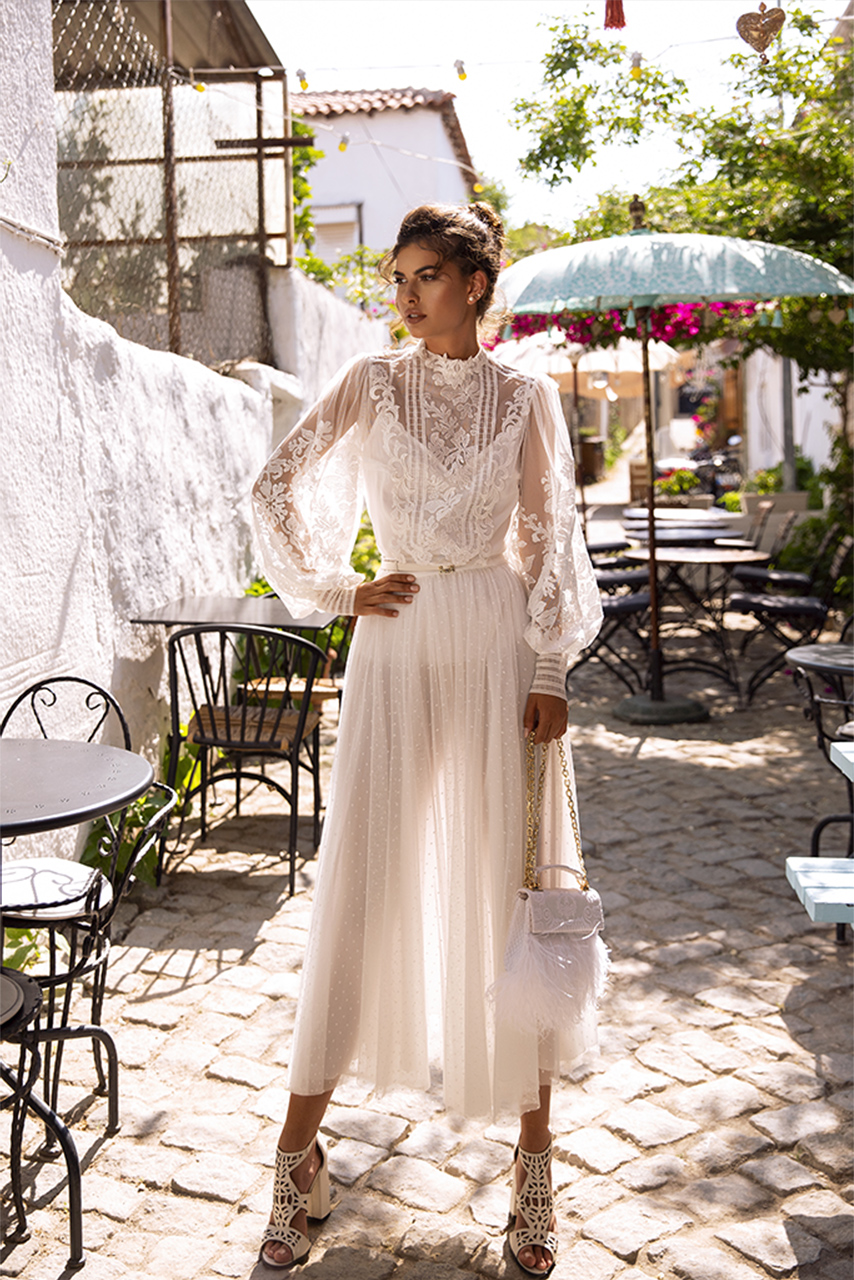 Wedding dresses Anita Collection  Highlighted Glamour  Silhouette  Sheath  Color  Ivory  Neckline  Mandarin  Sleeves  Long Sleeves  Bishop  Train  No train