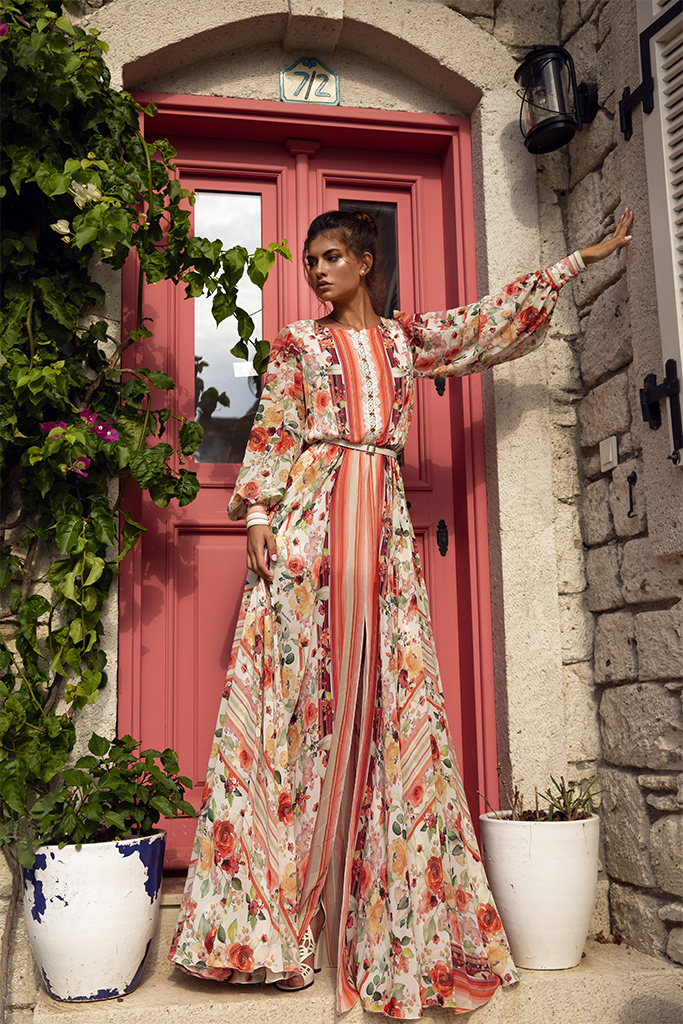 KY Atelier 1737 Collection  Rainbow  Silhouette  A Line  Color  Multi  Neckline  Bateau (Boat Neck)  Sleeves  Bishop
