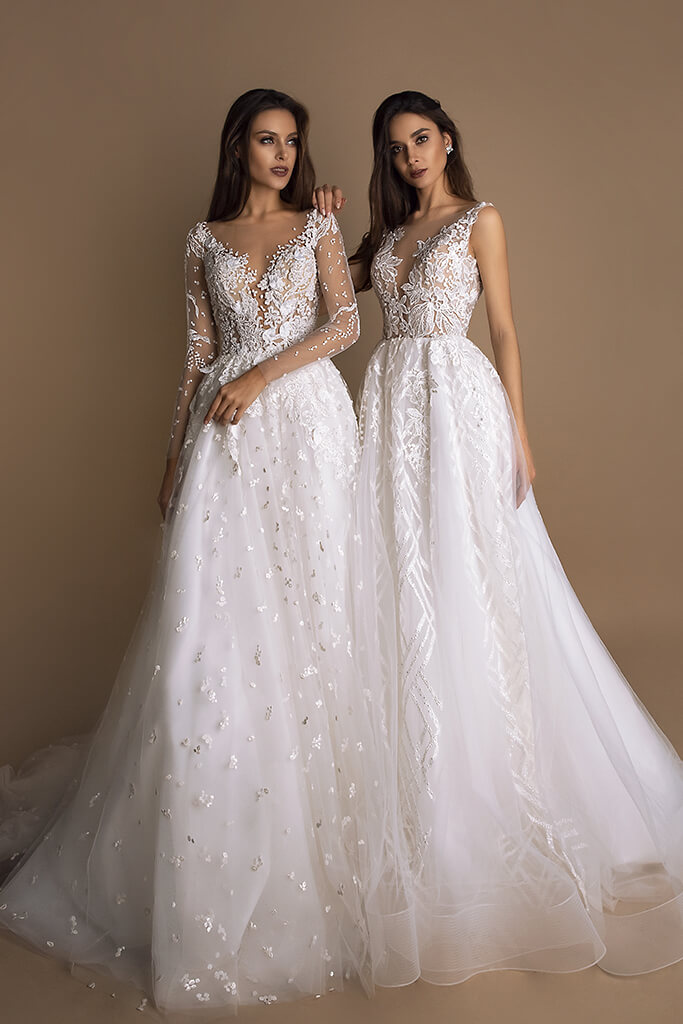 Wedding dresses Indila Collection  New Look  Silhouette  A Line  Color  Ivory  Neckline  Portrait (V-neck)  Illusion  Sleeves  Long Sleeves  Fitted  Train  With train