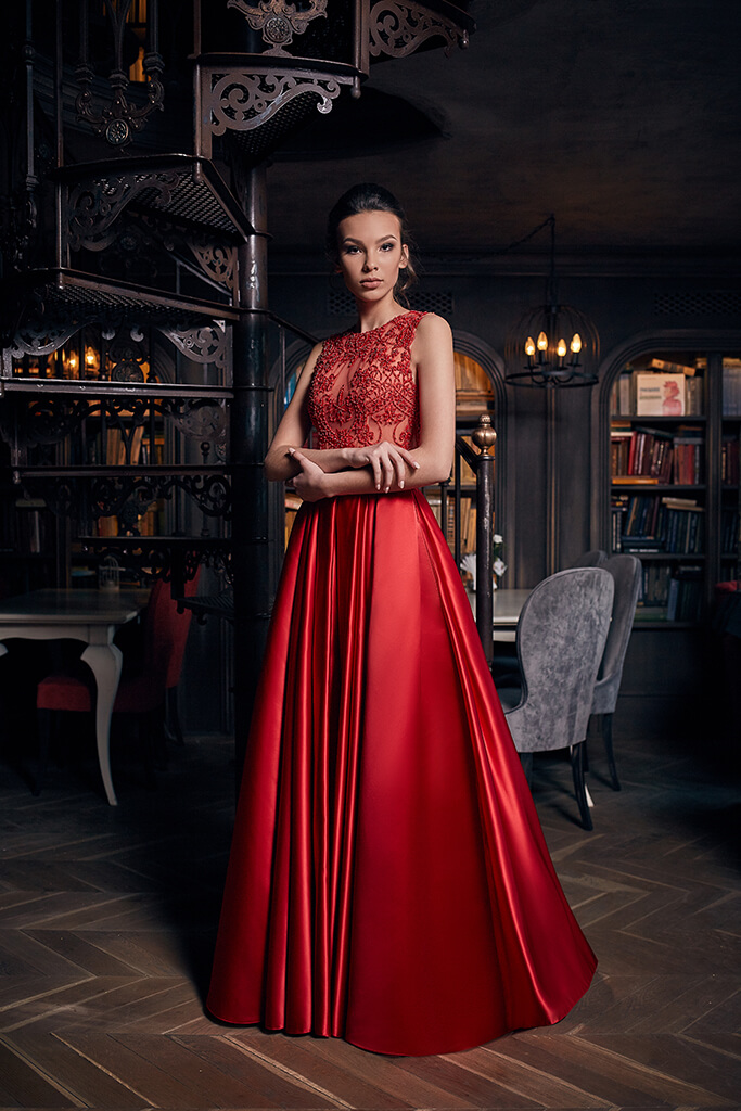 Evening gowns 1235 Silhouette  A Line  Color  Red  Neckline  Bateau (Boat Neck)  Sleeves  Wide straps  Train  No train