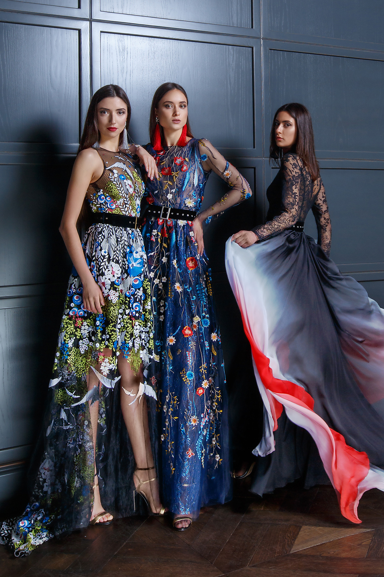 Evening gowns 1352 Silhouette  A Line  Color  Multi  Neckline  Halter  Bateau (Boat Neck)  Sleeves  Wide straps  Train  With train