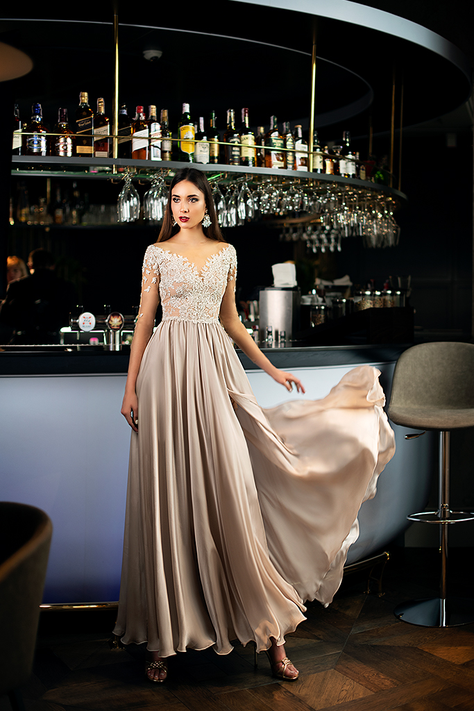 Evening gowns 1397 Silhouette  A Line  Color  Blush  Neckline  Portrait (V-neck)  Sleeves  3/4 Sleeves  Train  No train