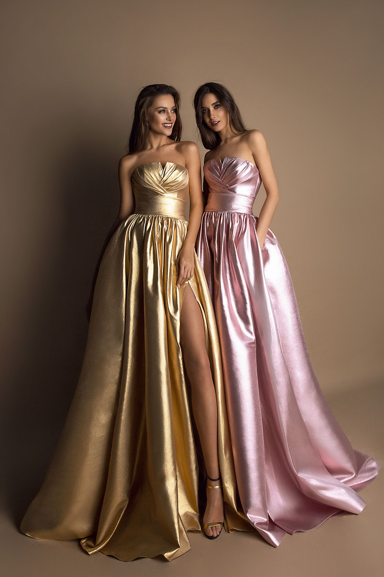 Evening gowns 1610 golden Silhouette  A Line  Color  Pink  Gold  Neckline  Straight  Sleeves  Sleeveless  Train  No train