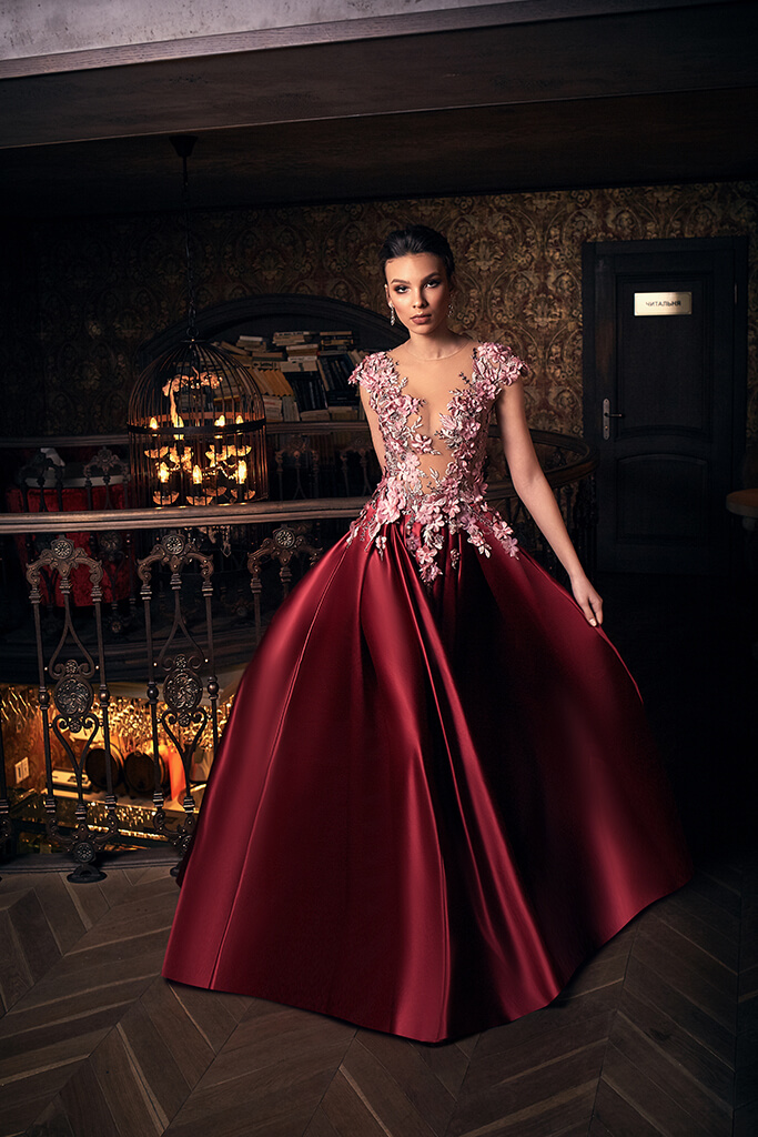 Evening gowns S-1233 Silhouette  A Line  Color  Claret  Neckline  Portrait (V-neck)  Illusion  Sleeves  Wide straps  Illusion Straps  Train  With train