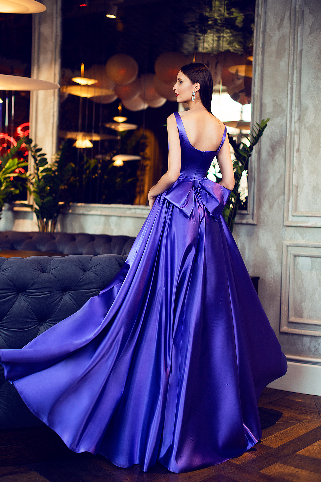 Evening gowns S-1421 Silhouette  A Line  Color  Violet  Neckline  Straight  Sleeves  Wide straps  Train  No train