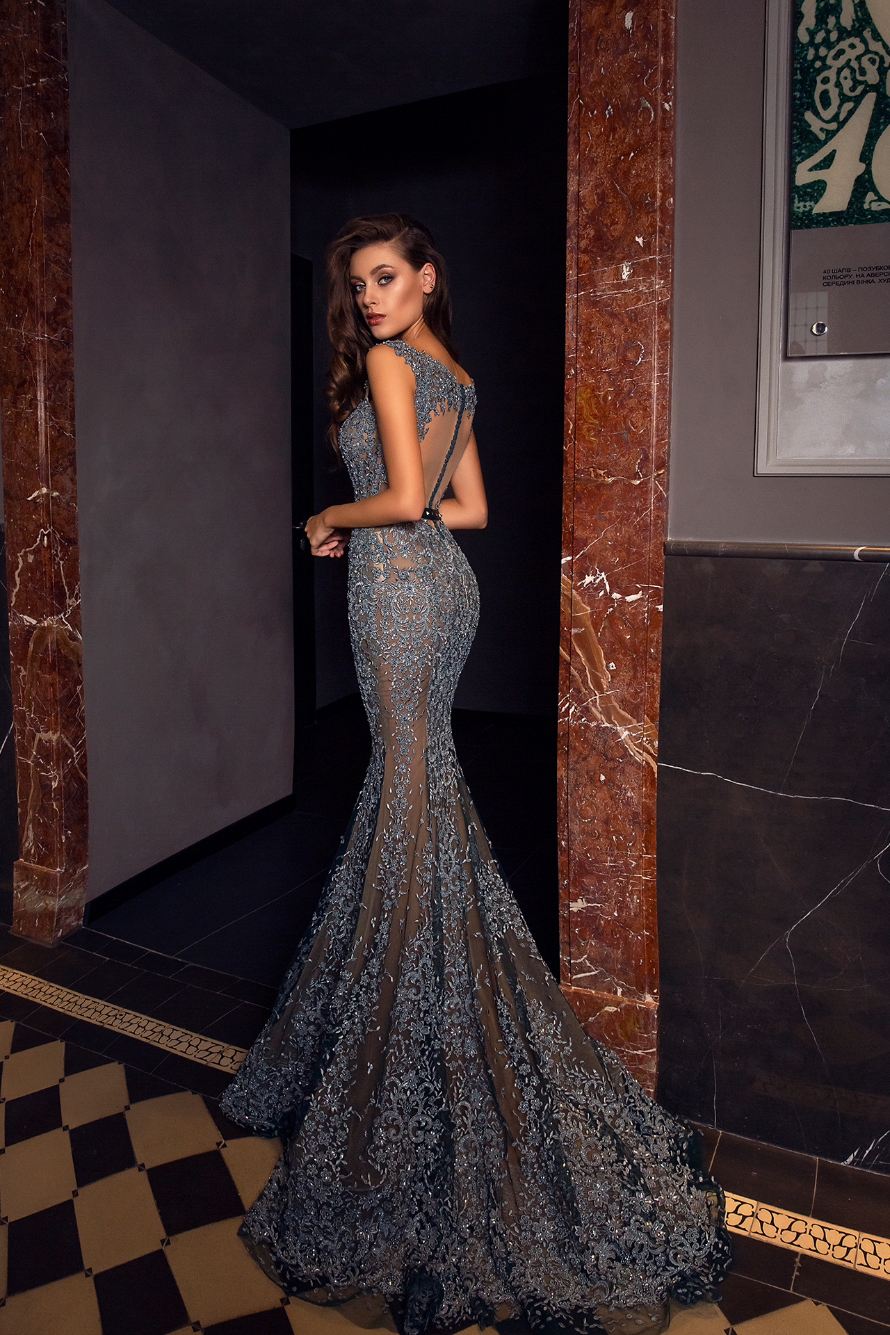 Evening gowns S-1477 Silhouette  Mermaid  Color  Grey  Neckline  Sweetheart  Sleeves  Wide straps  Train  With train