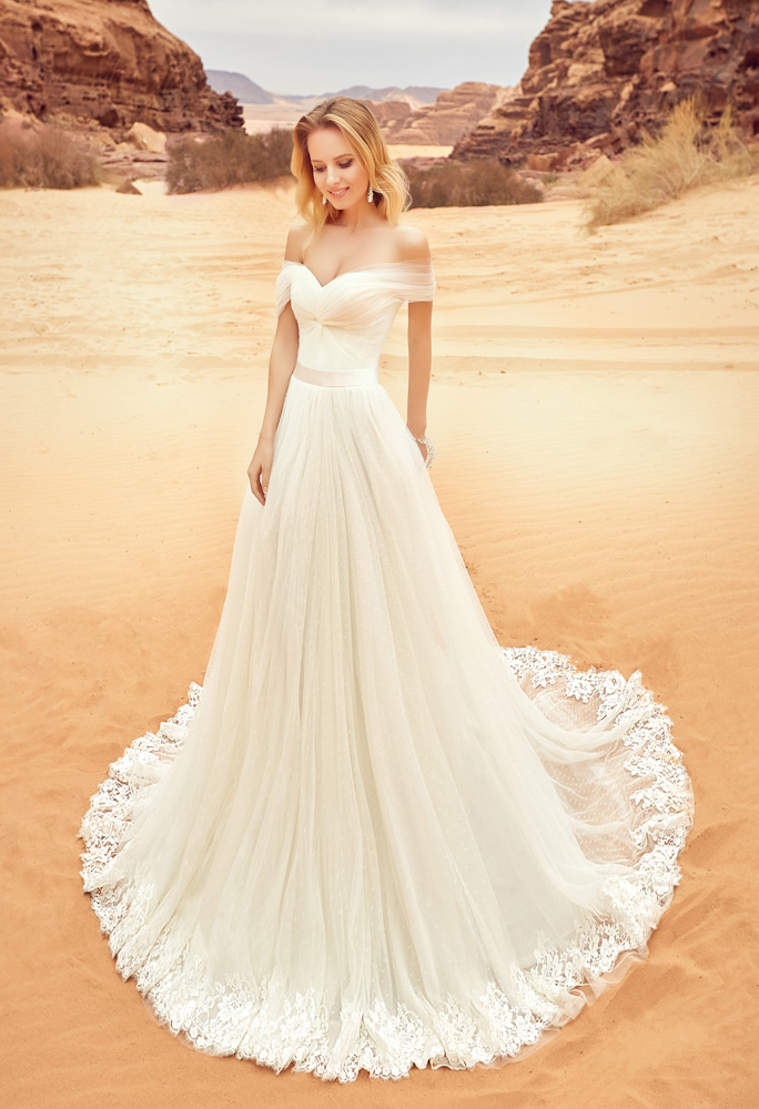 Wedding dresses Lila Collection  Voyage  Silhouette  A Line  Color  Ivory  Neckline  Sweetheart  Sleeves  Wide straps  Off the Shoulder Sleeves  Train  With train