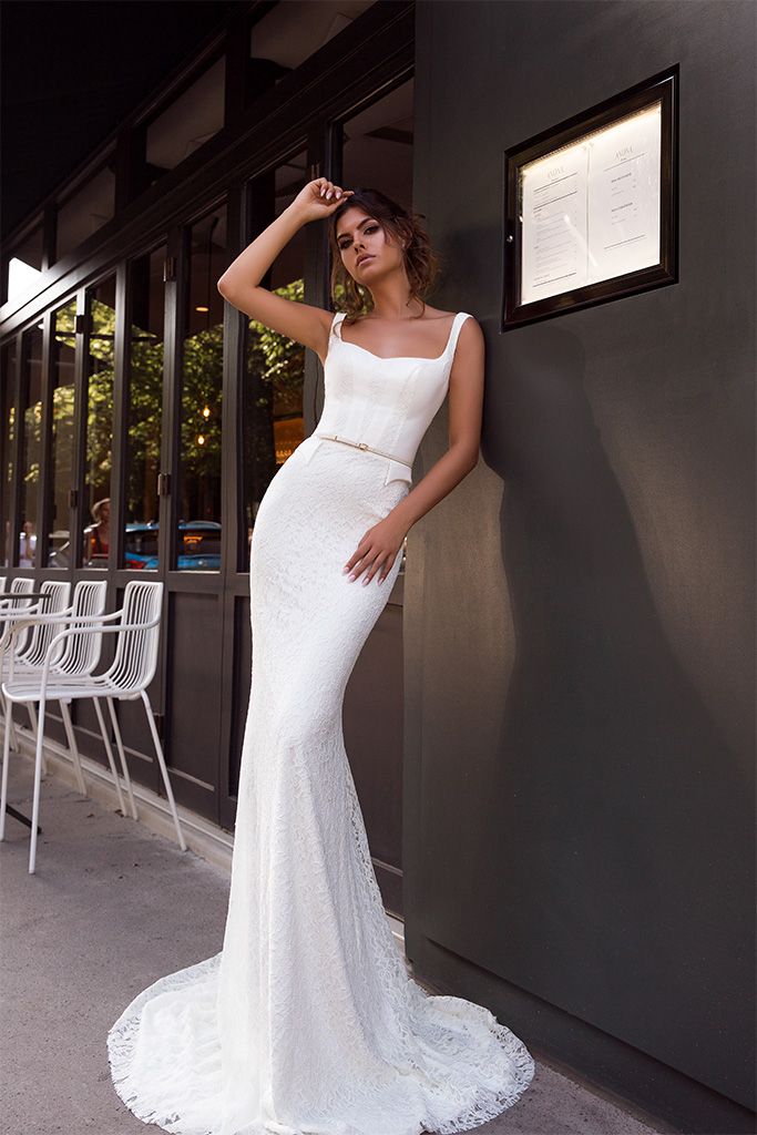Wedding dresses Alana Collection  L`arome de Paris  Silhouette  Fitted  Color  Ivory  Neckline  Straight  Sleeves  Wide straps  Train  With train