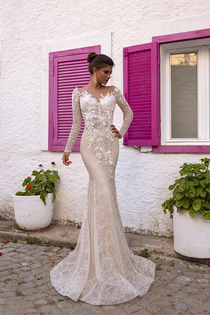 Wedding dresses Dali Collection  Highlighted Glamour  Silhouette  Fitted  Color  Silver  Ivory  Neckline  Sweetheart  Sleeves  Long Sleeves  Fitted  Train  No train
