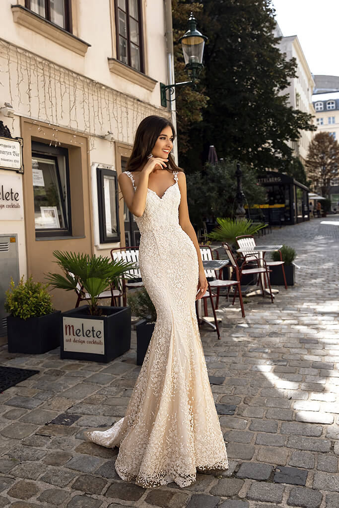 Wedding dresses Tessa Collection  Luxurious Spirit  Silhouette  Fitted  Color  Nude  Neckline  Sweetheart  Sleeves  Wide straps  Train  With train