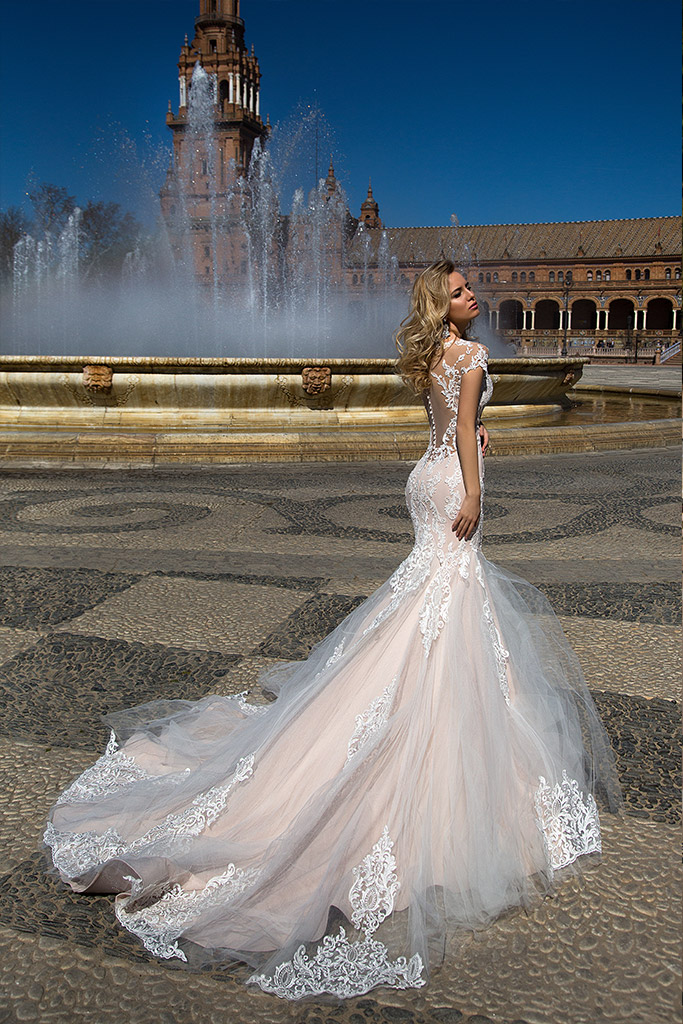 Wedding dresses Adalyn Collection  Iconic Look  Silhouette  Mermaid  Color  Cappuccino  Neckline  Sweetheart  Bateau (Boat Neck)  Sleeves  Petal  Train  With train