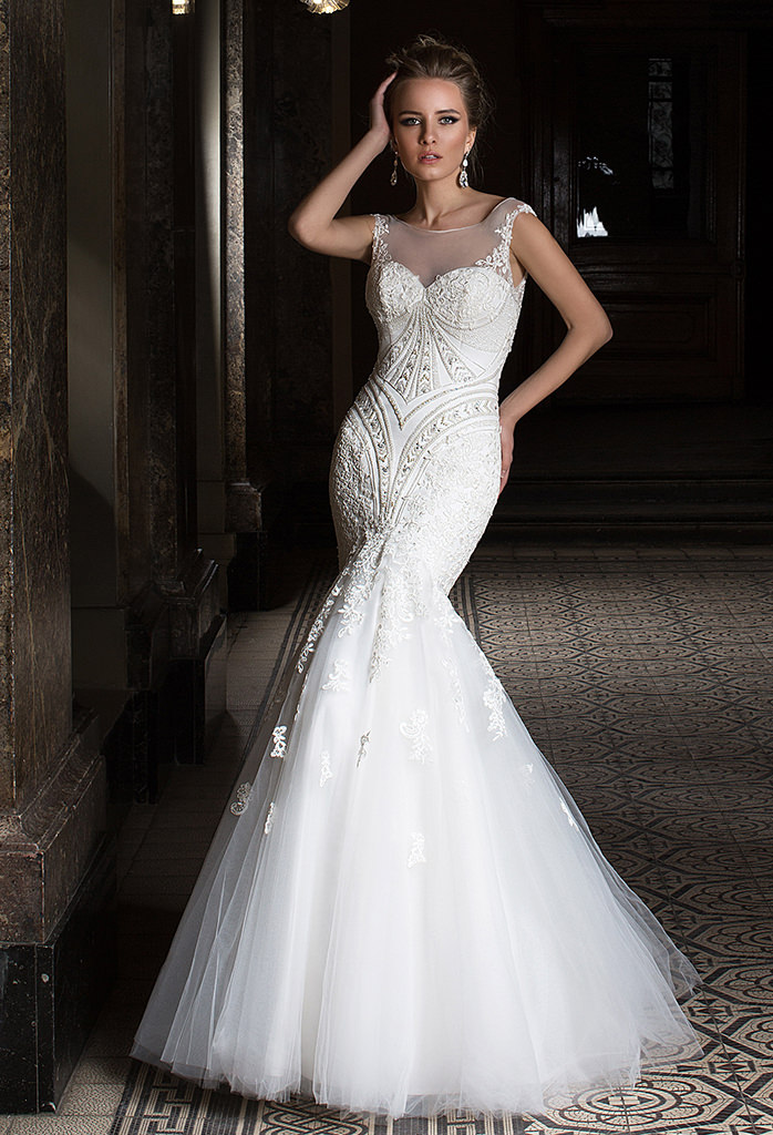 Wedding dresses Anrietta Collection  Supreme Classic  Silhouette  Mermaid  Color  Ivory  Neckline  Sweetheart  Illusion  Sleeves  Wide straps  Train  With train