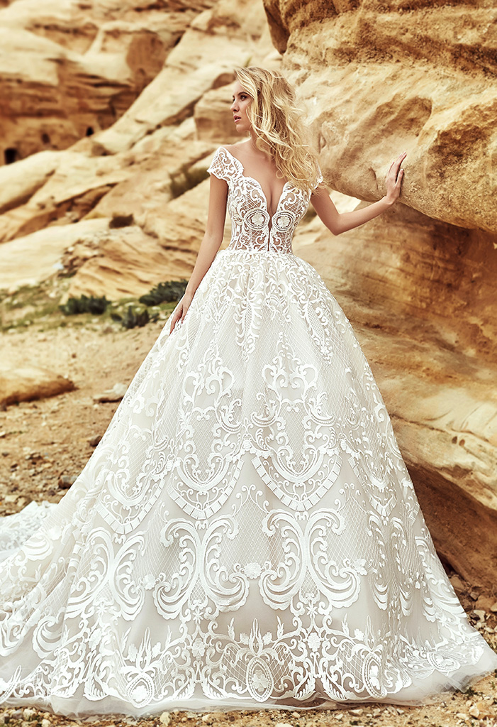 Wedding dresses Barcelona-1 Collection  Voyage  Silhouette  Ball Gown  Color  Nude  Ivory  Neckline  Portrait (V-neck)  Illusion  Sleeves  T-Shirt  Off the Shoulder Sleeves  Train  With train