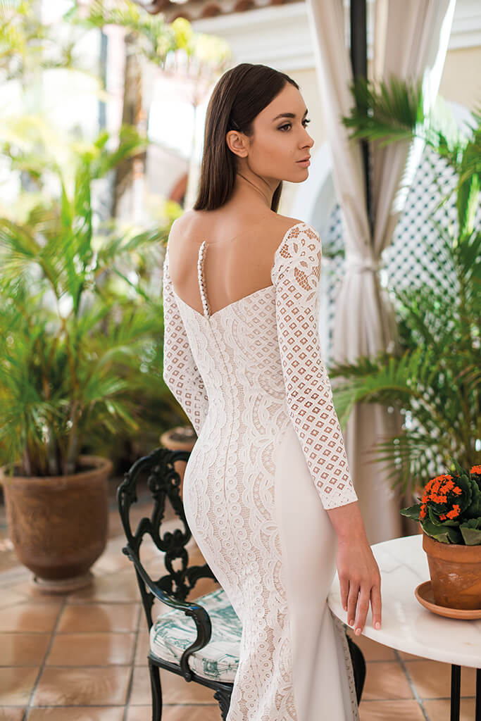 Wedding dresses Daira Collection  Lisbon Lace  Silhouette  Fitted  Color  Ivory  Neckline  Straight  Sleeves  Long Sleeves  Fitted  Train  No train
