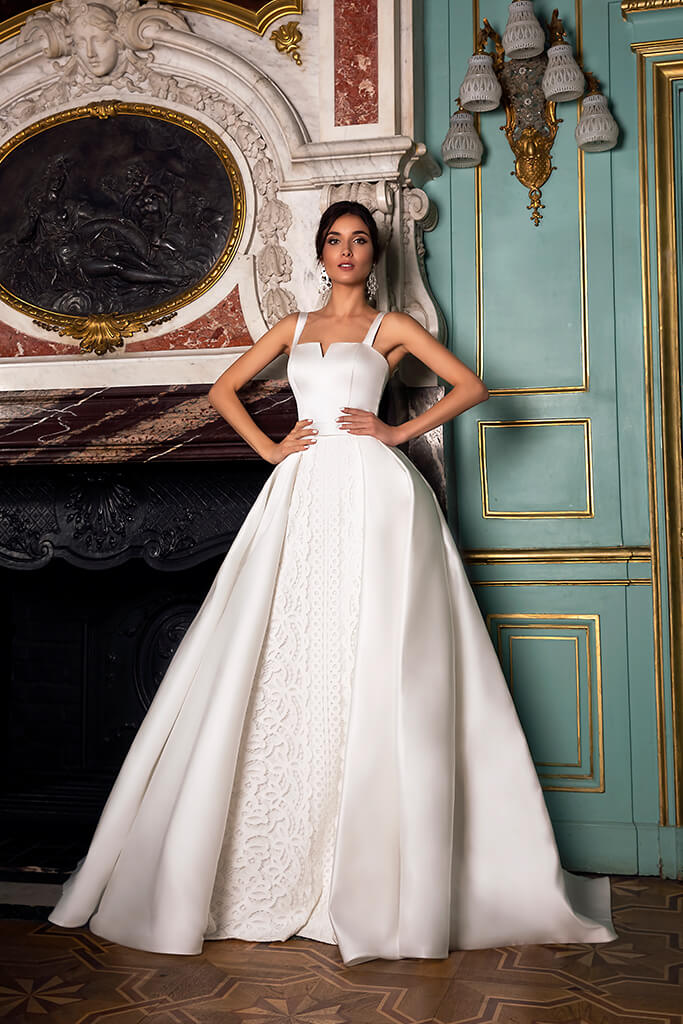 Wedding dresses Demetra Collection  Luxurious Spirit  Silhouette  A Line  Color  Ivory  Neckline  Straight  Sleeves  Wide straps  Train  With train