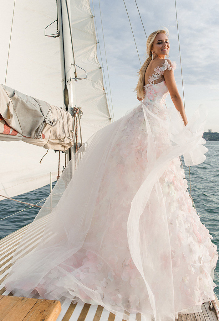 Wedding dresses Florain Collection  Voyage  Silhouette  A Line  Color  Multi  Pink  Ivory  Neckline  Sweetheart  Illusion  Sleeves  Wide straps  Train  With train