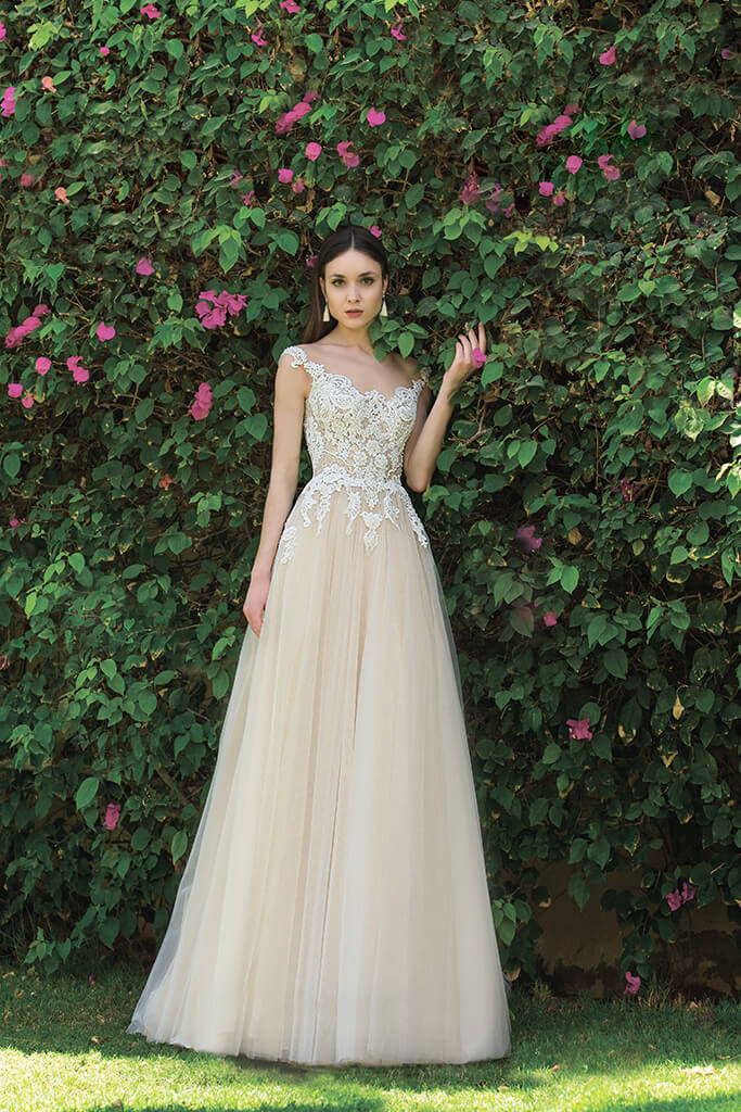 Wedding dresses Myrcella Collection  Fresh Touch  Silhouette  A Line  Color  Cappuccino  Ivory  Neckline  Illusion  Sleeves  Wide straps  Train  With train
