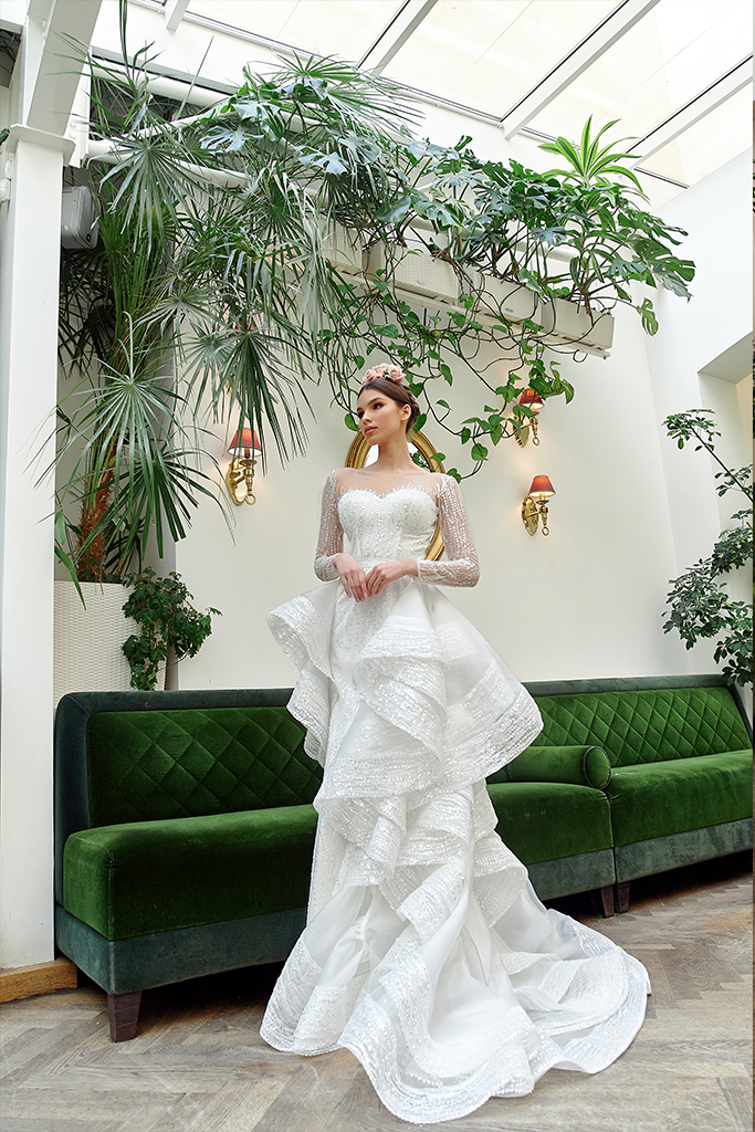 Wedding dresses Jilly Collection  Gloss  Silhouette  Fitted  A Line  Color  Silver  Ivory  Neckline  Sweetheart  Illusion  Sleeves  Long Sleeves  Fitted  Train  Detachable train