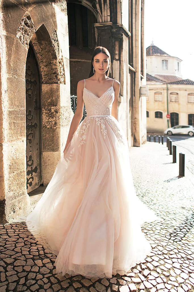 Wedding dresses Amal Collection  Lisbon Lace  Silhouette  A Line  Color  Cappuccino  Ivory  Neckline  Sweetheart  Sleeves  Spaghetti Straps  Train  With train
